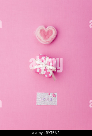 Gift box with greeting card - Stock Photo