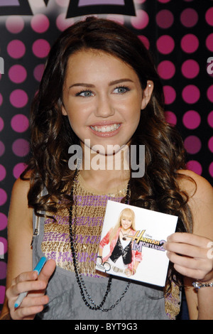 Disney's teen sensation Miley Cyrus aka Hannah Montana greeted fans at World of Disney's Store in Times Square New - Stock Photo