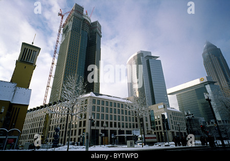 Tower 185, left of Castor and Pollux (centre) and Messeturm (Trade Fair Tower) in the German city of Frankfurt. - Stock Photo