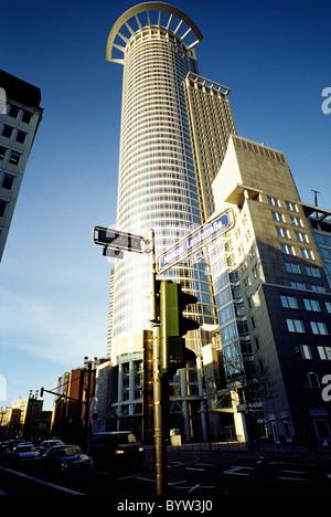 DZ-Bank Tower at Mainzer Landstrasse in the German city of Frankfurt am Main. - Stock Photo