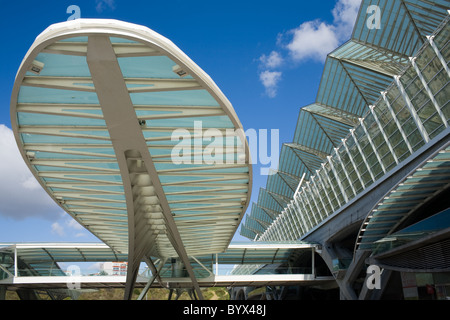 Oriente Station by renowned architect Santiago Calatrava, Parque das Nações, Lisbon, Portugal - Stock Photo