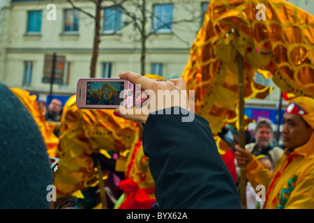 Paris, France, Street Scenes, Belleville Chinatown, Woman's Hand Holding, Taking Photos with Smart Phone, 'Chinese - Stock Photo
