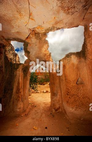 Turkey, Cappadocia, Nevsehir. The gate of the rock cut library of Keslik monastery, close to Sinassos and Cemilkoy - Stock Photo