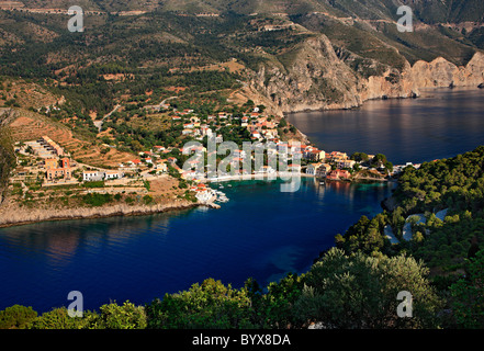 Assos (or 'Asos') one of the most beautiful villages of Kefalonia, on the north part of the island. Ionian Sea, - Stock Photo