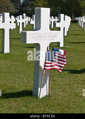 Grave of unknown American soldier, American War Cemetery  by Omaha Beach in Normandy, France - Stock Photo
