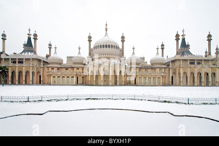 Royal Pavilion Brighton and grounds in snow. Winter. Brighton East Sussex England - Stock Photo