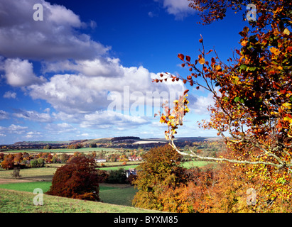 A view of the Wylye Valley in Wiltshire, England taken near the village of Corton. - Stock Photo