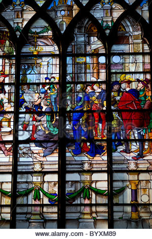 Stained glass windows inside a church - Paris France - Stock Photo