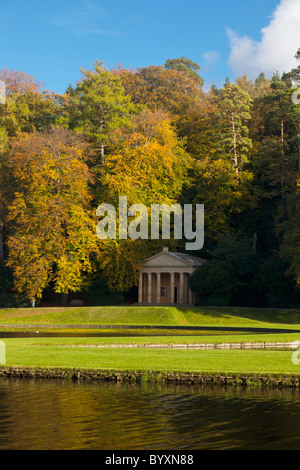 temple of piety and water gardens in studley royal park; north yorkshire, england - Stock Photo