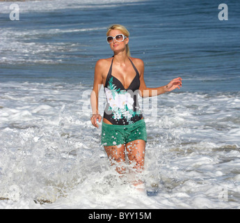 Paris Hilton filming her new reality TV program at the beach  Malibu, California - 09.08.07 - Stock Photo