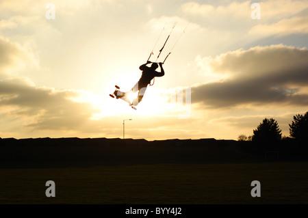 Extreme sport kiteboarding Kitesurfing in Dovercourt - Stock Photo
