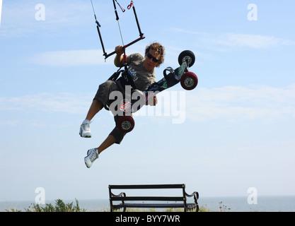 Extreme sport kiteboarding in Dovercourt Kite Flying - Stock Photo