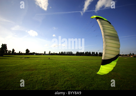 Extreme sport kiteboarding in Dovercourt Kite Flying - Stock Photo