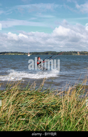 Extreme sport kitesurfing in Bradfield - Stock Photo