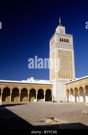 Tower of the Ez-Zitouna Mosque in the UNESCO World Heritage medina- Tunis, Tunisia. - Stock Photo