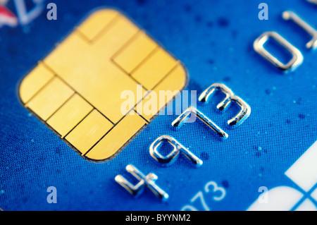 Smart card super macro , credit card chip - Stock Photo