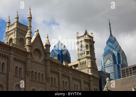 Downtown Philadelphia skyline showing One Liberty Place, Two Liberty Place and City Hall - Stock Photo