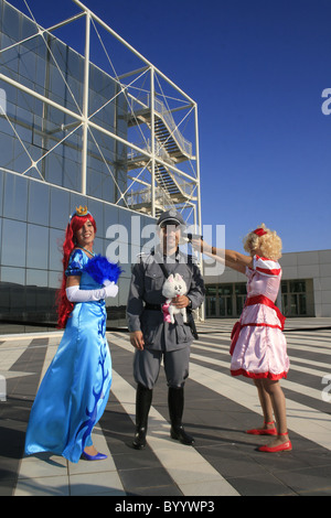people dressed as cosplay characters at romics trade show in rome 2010 - Stock Photo