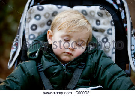 Portrait of a young boy sitting in a stroller, sleeping - Stock Photo