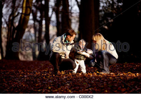 A child looking at a leaf with his parents in the park - Stock Photo
