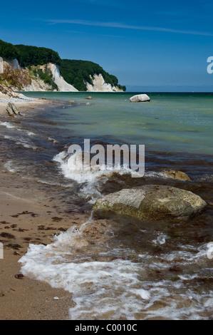 Island Ruegen, East Germany, Baltic sea, coast with famous chalk cliffs - Stock Photo
