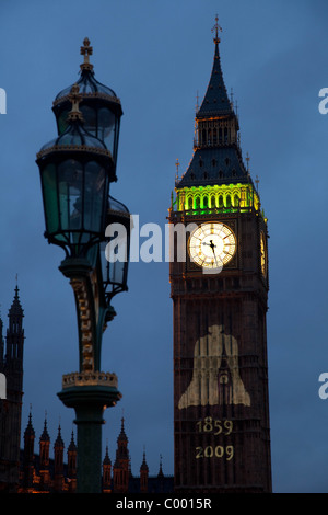 Big Ben with 150 year old dates projected onto the tower - Stock Photo