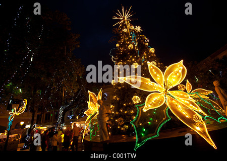 christmas decorations in the plaza de armas old san juan puerto rico stock