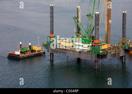 Construction, Port of Leixoes, Porto City, Portugal, Europe - Stock Photo
