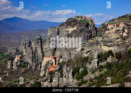 Panoramic view of the 'heart of the monastic complex of Meteora, where you can see 4 of the 6 still active monasteries. - Stock Photo