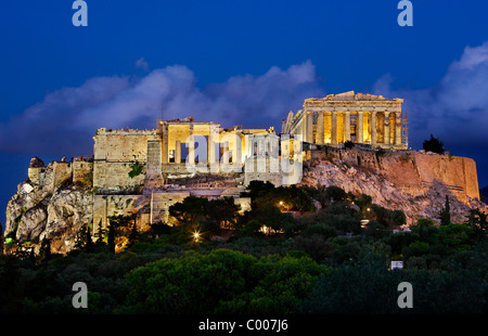 The Parthenon and the Propylaea on the Acropolis of Athens, in the 'blue' hour. Greece - Stock Photo