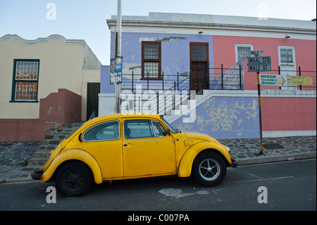 VW beetle parked in Bo Kaap Cape Town South Africa - Stock Photo