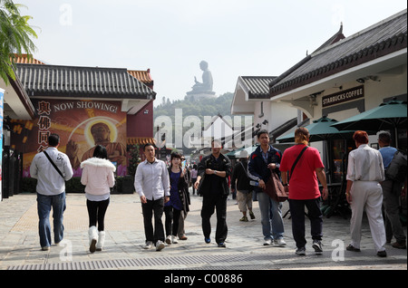 Ngon Ping Village and the giant buddha statue in Lantau, Hong Kong - Stock Photo