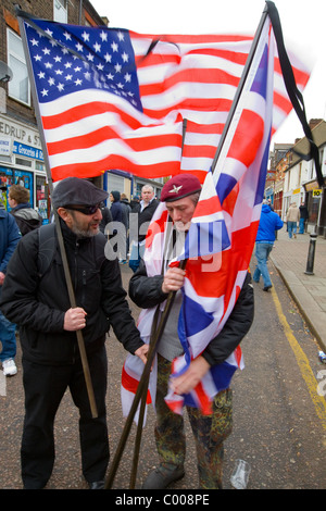 Supporters of the English Defence League known or EDL held a rally in St. Georges Square in Luton.  - 05/02/2011 - Stock Photo