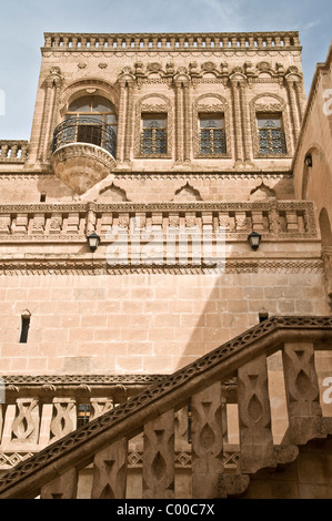 An old stone mansion in the government guest house in the town of Midyat, located in Mardin province in southeast - Stock Photo