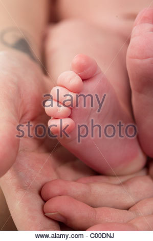 close-up of a mother's hands holding her 5 day old baby's foot - Stock Photo