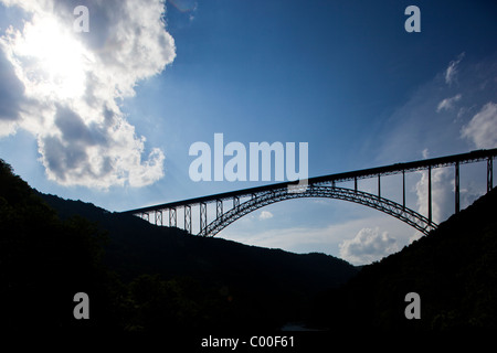 USA, West Virginia, Fayetteville, Silhouette of New River Gorge Bridge in Appalachian Mountains  - Stock Photo