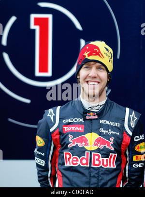Portrait of german Formula One driver Sebastian Vettel, Red Bull Racing - Stock Photo