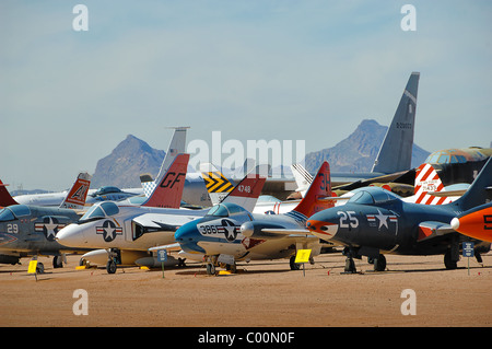 Miscellaneous selection of fighter aircraft at Pima Air and Space Museum, near Tucson, Arizona, USA - Stock Photo