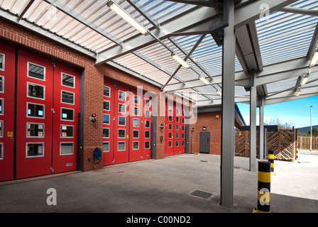 Marshes End Fire Station, Dorset Fire and Rescue Service, Poole fire engine exit doors - Stock Photo