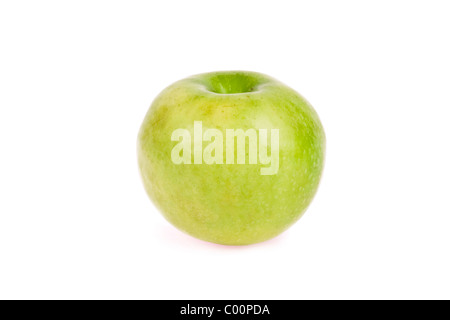 A green Granny Smith apple on isolated background. - Stock Photo