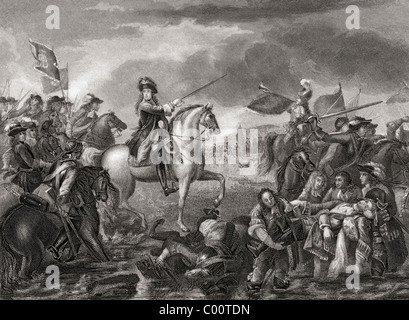 King William III, 1650 - 1702 at the Battle of the Boyne, Ireland in 1690. - Stock Photo