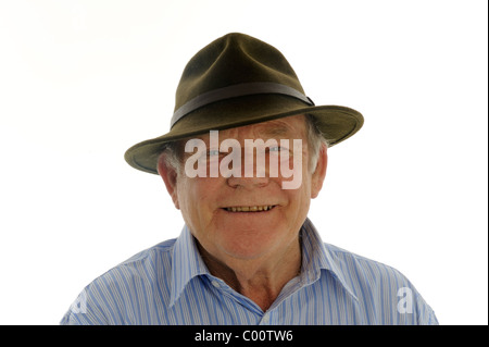 Senior old aged pensioner happy smiling gentleman old man friendly 70,s 80´s Male father Dad Grandfather  Trilby - Stock Photo