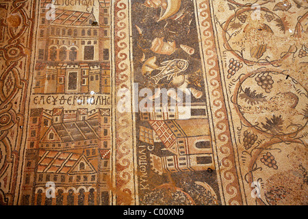 Mosaics at St. Stephen church in Umm Ar-Rasas, Jordan. - Stock Photo