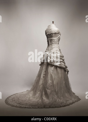 wedding dress by Ian Stuart photographed in the studio - Stock Photo