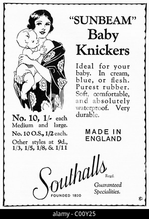 1920s advertisement in consumer magazine for SOUTHALLS SUNBEAM BABY KNICKERS - Stock Photo