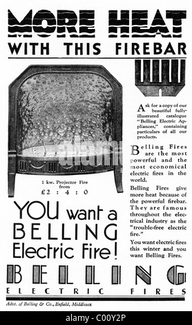1920s advertisement in consumer magazine for BELLING ELECTRIC FIRES - Stock Photo