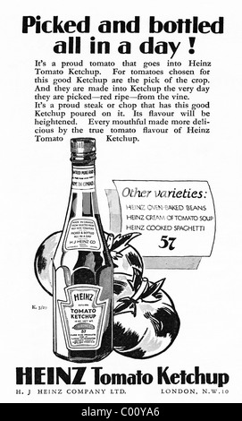 1920s advertisement in consumer magazine for HEINZ TOMATO KETCHUP - Stock Photo
