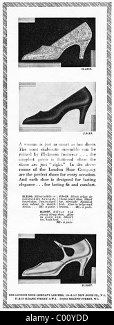1920s advertisement in consumer magazine for women's shoes from THE LONDON SHOE COMPANY - Stock Photo