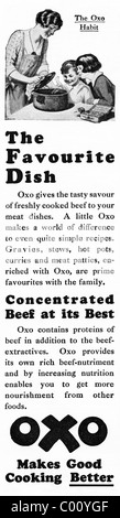 1920s advertisement in consumer magazine for OXO beef stock cubes - Stock Photo