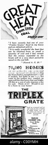 1920s advertisement in consumer magazine for the TRIPLEX fire grate - Stock Photo